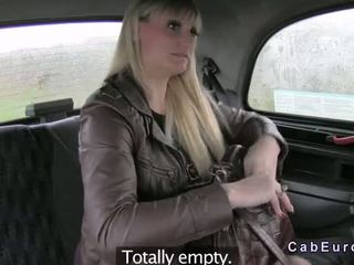 Tall Busty Blonde Gags On Big Dick In Faketaxi