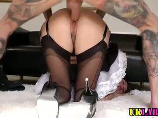 Mature stockinged cosplay maid