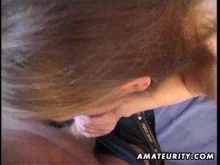 Busty amateur brunette fucks and sucks till given a cumshot