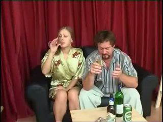 Father fucks daughter after drinking beer