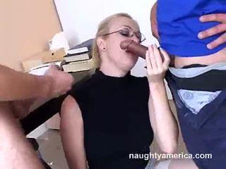 Adrianna nicole blows 2 kova meat weenies alternately