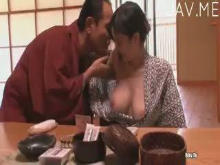 brunett, japansk, avsugning
