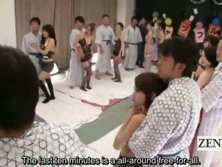Subtitled Lingerie Clad Japanese Av Stars Shuffle Orgy