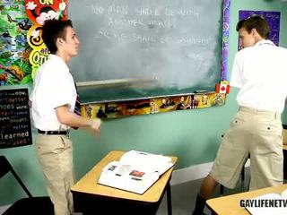Angry, Mouthy Little Boy Has Punished Nearby Ruler Then Bent Over While In Detention.