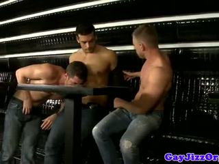 Tugging muscle jocks in group get cumshots