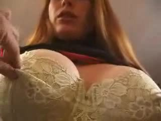Red head with big tits does bdsm