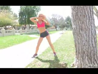Heather Out On A Scenic Jogging Trail Near A Park