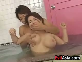 Asia tit fuck at the sauna