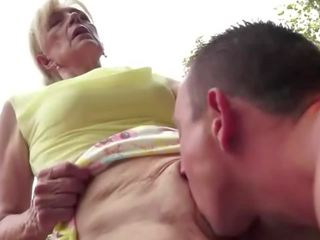 cum in mouth, eating, granny