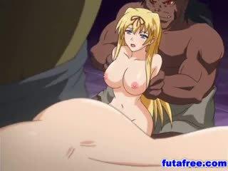 সাদা futagirl gets তার holes pumped