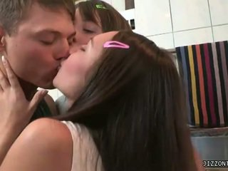 brunette, young, 3some, blowjob, brown hair, lesbian
