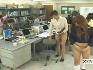 Subtitled metade nu bottomless japonesa escola escritório