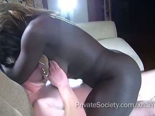 shaved pussy, cock sucking, interracial