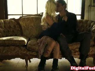 Blonde pornstar Stevie Shae sofa sex fun