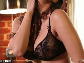 brunette, masturber, strip-tease