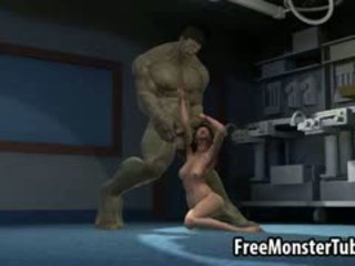 3d 金发 孩儿 gets 性交 由 该 incredible hulk