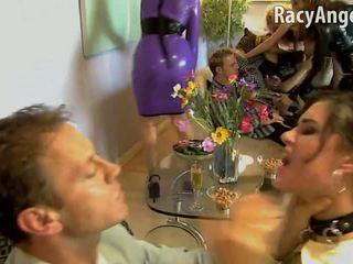 Sasha Grey is sucking cock during hardcore orgy
