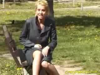 Blondie pees in children park