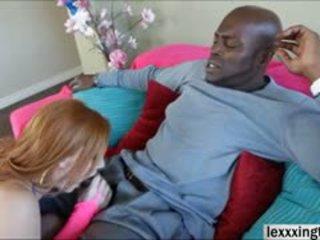 blowjob, redhead, interracial