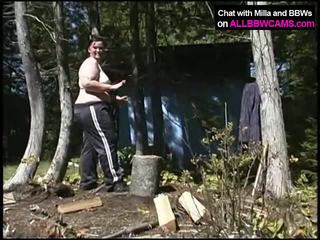 BBW Wood Cutting. Then… Pussy Time