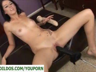 brunette, fucking machine, masturbating