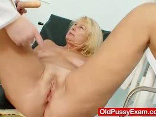 Awesome busty gramma boobies and muff gyno examina