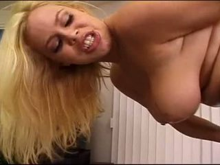 Busty bitch Alicia Rhodes fingers twat as she stuffs mouth with thumping cock