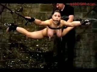 Mädchen hanging im bondage nipple weights getting sie muschi fingered tortured mit wasser von meister im die verlies