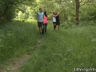 18 Virgin Fucking Is Proud To Present You With The Lovely Sindy And Her Pal Sucking And Bonking In The Woods