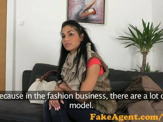 FakeAgent Sweet innocent babe takes spunk shower in Casting interview