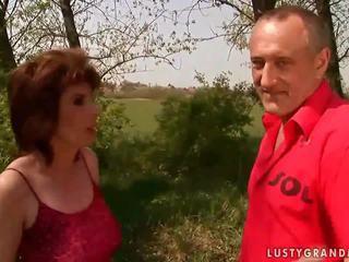 Hot grandma gets fucked hard outdoor