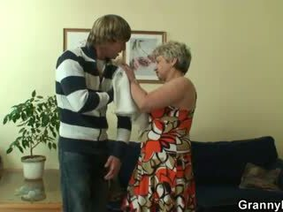 Lonely granny gets fucked in various p...