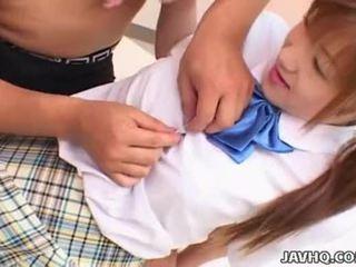 Japanes tiener in school- uniform gets geneukt uncensored