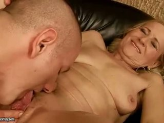 Sensuous grandmother dicklicking and making love youthful snake