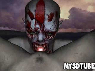 Hot 3D zombie babe gets licked and fucked hard
